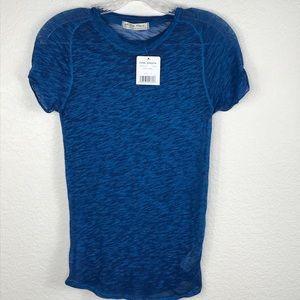 Free People T-Shirt Burnout SZ S NWT Blue